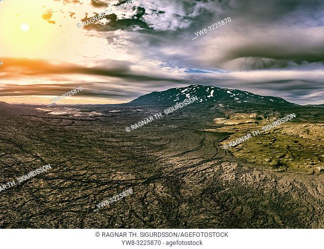 Mt. Hekla and lava fields, Iceland