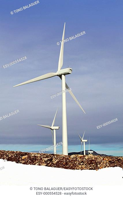 electric aerogenerator windmill snow winter mountain