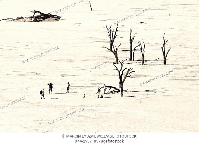 A distant view on the tourists watching dead trees, Namib desert near Soussuvlei, Namib-Naukluft National Park, Namibia