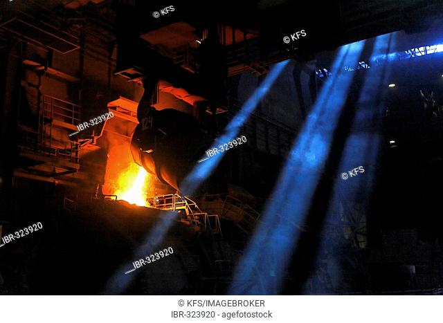 Casting of steel, foundry at HKM, Duisburg-Ehingen, NRW, Germany