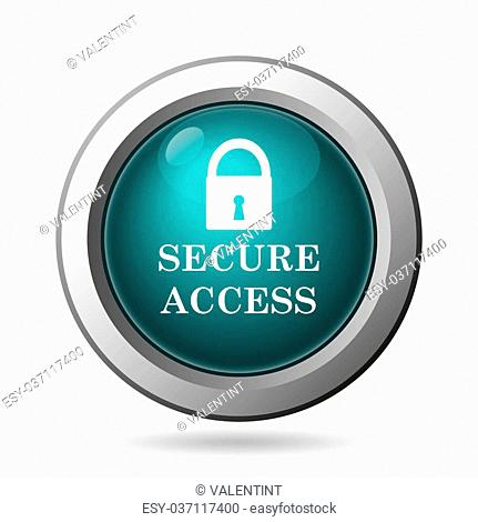 Secure access icon. Internet button on white background