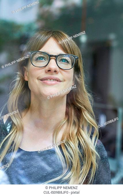 Woman looking happy and positive