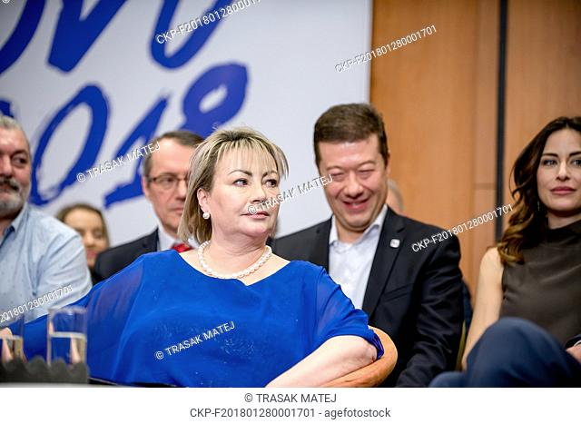 Milos Zeman's wife Ivana Zemanova attends the meeting in TOP Hotel Praha, where Zeman with his supporters claim victory in the Czech presidential election in...