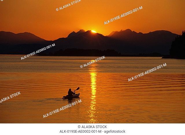 Kayaking Amalga Harbor near Juneau Southeast AK Chilkat Mtns Lynn Canal Summer