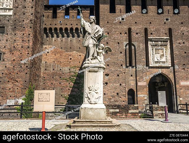Statue of St. John of Nepomuk ( San Giovanni Nepomuceno). Sforza Castle (Castello Sforzesco). Milan, Lombardy, Italy, Europe