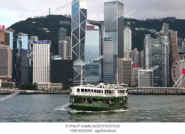 Star Ferry crossing Victoria Harbour, Hong Kong, China