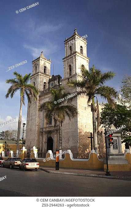 View to the San Gervasio Cathedral, Valladolid, Yucatan Province, Mexico, Central America