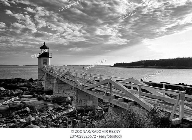 Marshall Point Light as seen from the rocky coast of Port Clyde - Black and White Photo