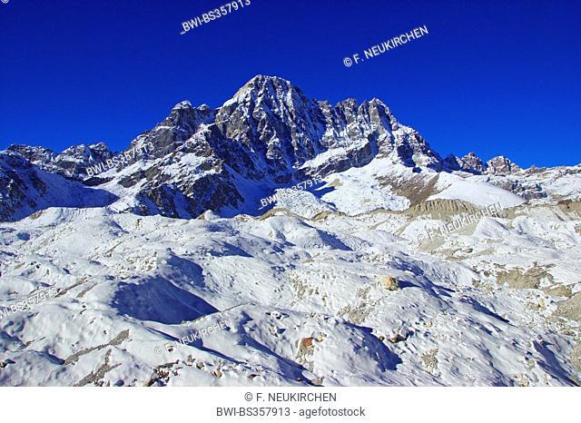 Phari Lapche view from Ngozumba glacier near Gokyo, Nepal, Himalaya, Khumbu Himal