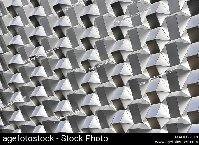 Honeycomb structure on the facade of the Centrum Galerie, shopping center, Dresden, Saxony, Germany