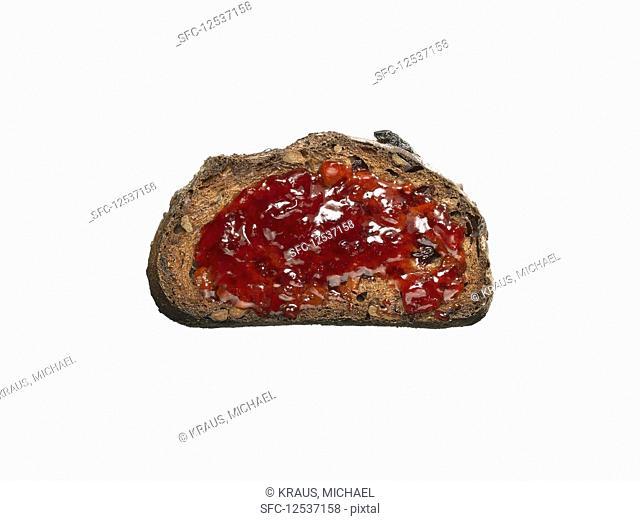 Fruit and Nut Ciabatta Toast with Strawberry Jam