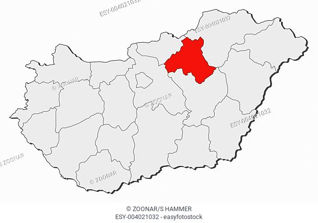 Map of Hungary, Heves highlighted