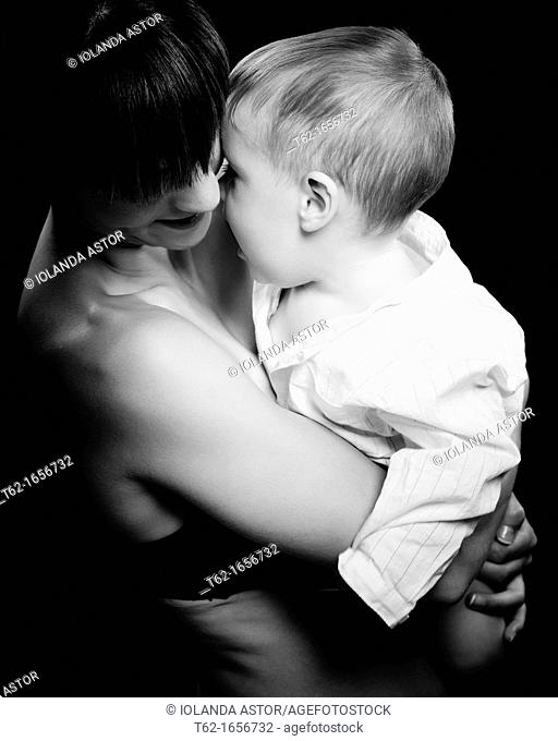 Mother with her child  Spotlight: Black and White