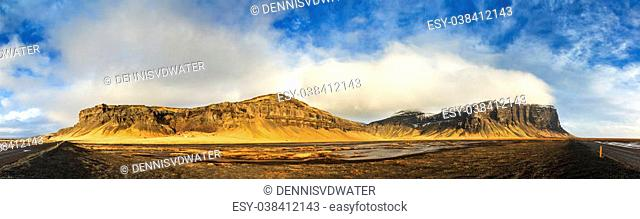 180 degree panoramic view on the mountain ridge Lomagnupur in the volcanic landscape of Iceland