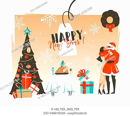Hand drawn vector abstract Happy New Year time cartoon illustrations retro card with romantic couple who kissing and hugging under the mistletoe