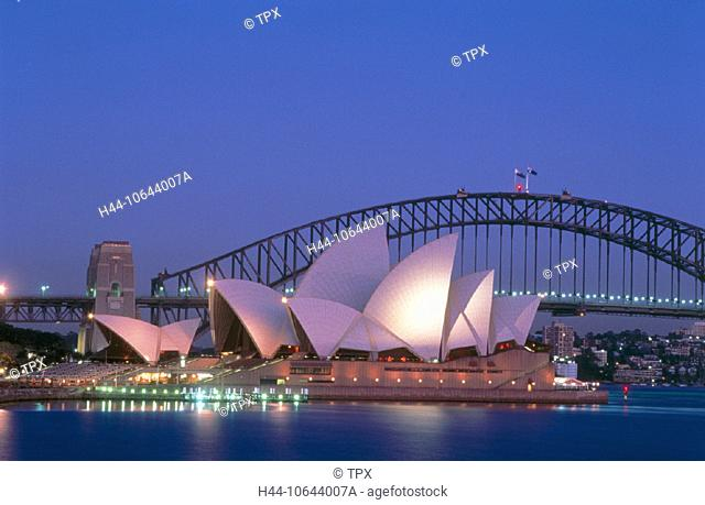 10644007, Australia, illuminated, blue, dusk, twilight, Harbour bridge, at night, opera-house, Sydney