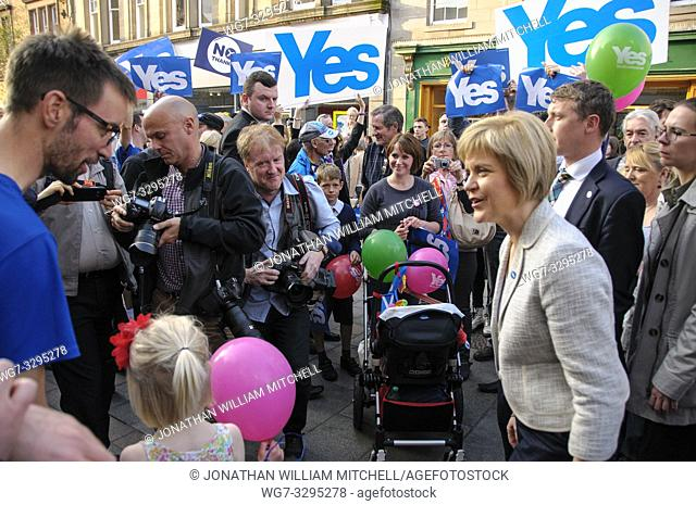 SCOTLAND Perth -- 12 Sep 2014 -- Deputy First Minister Nicola Sturgeon during a walkabout with Yes supporters in Perth, Scotland