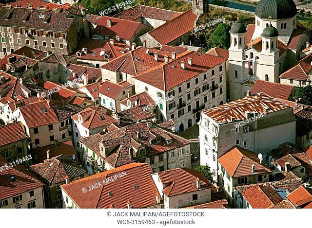 view of kotor town rooftops in montenegro