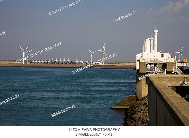 Wind turbines on waterfront