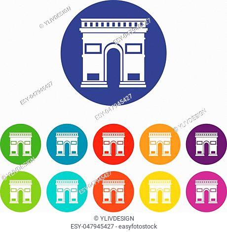 Triumphal arch set icons in different colors isolated on white background