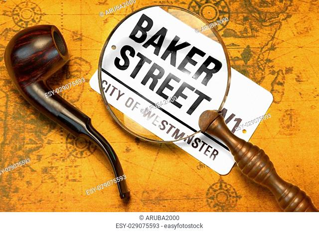 Sign BAKER STREET, Smoking Pipe, Magnifier On The OLD Map. London Travel Concept. Overhead View
