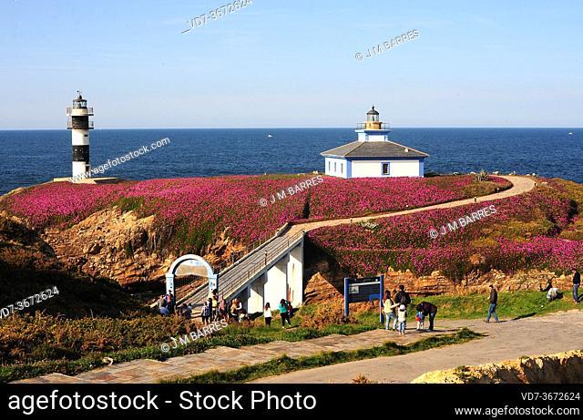 Ribadeo, Pancha Island with lighthouse. Lugo province, Galicia, Spain