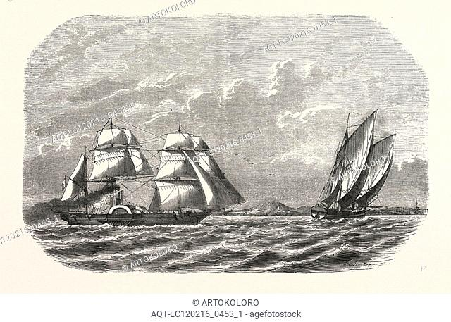 Hunting and taking the Menschikoff the Russian vessel, by the steam sloop Cocyle in the White Sea near Archangel, Russia. engraving 1855