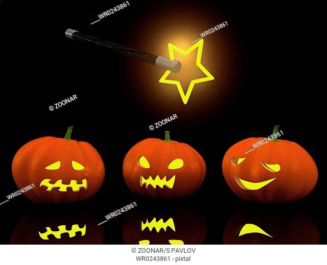three halloween pumpkins with magic wand. 3d