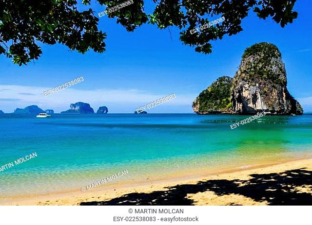 Island sea sand sun beach landscape at phra nang bay, Thailand