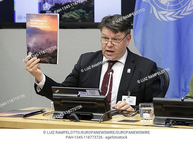 United Nations, New York, USA, March 28, 2019 - Petteri Taalas, Secretary-General of the World Meteorological Organization (WMO)