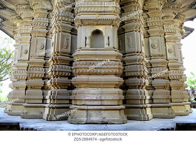 Main shikhar wall of Sangameshwar temple near Saswad, Pune, Maharashtra