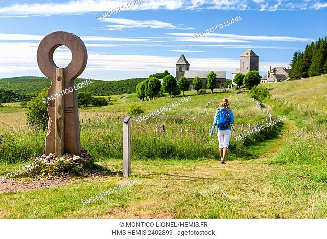 France, Aveyron, Aubrac, La Domerie, ancient abbey, on the way to Saint Jacques de Compostela, listed as World Heritage by UNESCO