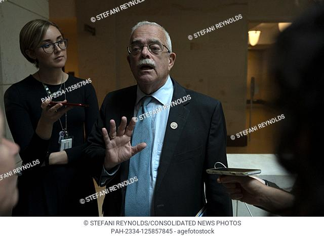 United States Representative Gerry Connolly (Democrat of Virginia) speaks to reporters above the SCIF, where acting U.S. ambassador to Ukraine William Taylor is...