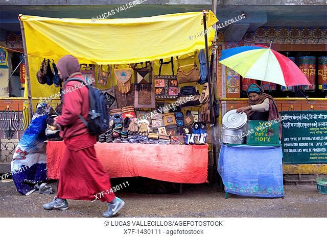 Stalls, in Main Bazar street,McLeod Ganj, Dharamsala, Himachal Pradesh state, India, Asia