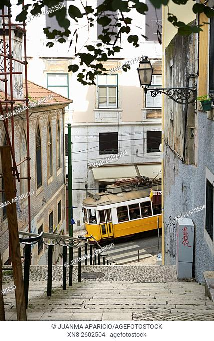 Electric Tramcar in Lisbon, Portugal, Europe