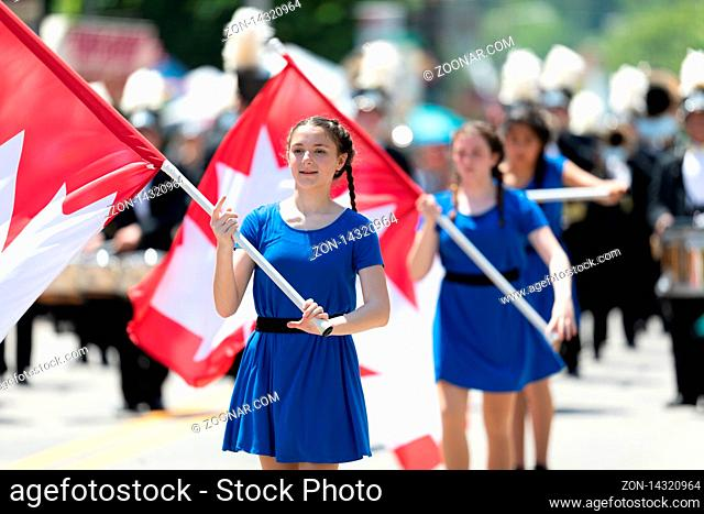 Buckhannon, West Virginia, USA - May 18, 2019: Strawberry Festival, The Diplomats Drum and Bugle Corps marching band from Windsor