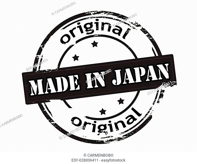 Rubber stamp with text made in Japan inside, vector illustration