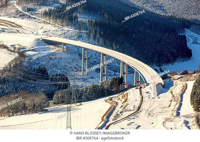Expanding the A46 motorway, Nuttlar viaduct with snow, Olsberg, Sauerland, North Rhine-Westphalia, Germany