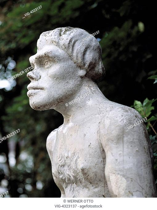 D-Mettmann, Bergisches Land, Nordrhein-Westfalen, Neandertal, Neanderthal Museum, Neandertaler, Rekonstruktion, Statue, Standbild, Plastik, Skulptur