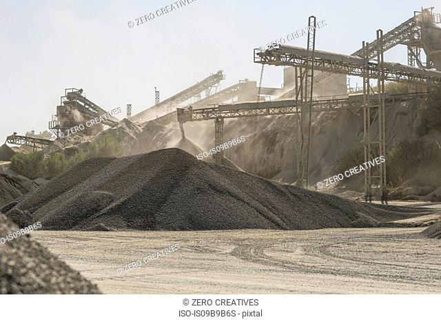 Piles of aggregate in quarry