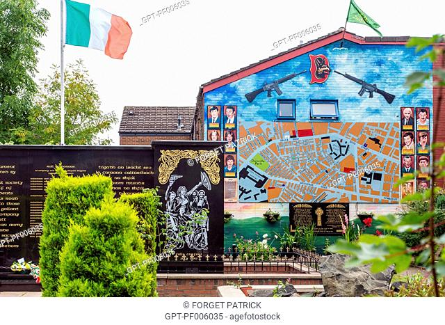 GARDEN OF REMEMBRANCE FOR THE NORTHERN IRELAND CONFLICTS, WESTERN CATHOLIC QUARTER OF FALLS ROAD, BELFAST, ULSTER, NORTHERN IRELAND