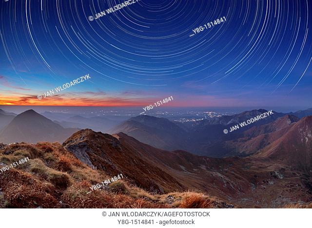 Tracks of stars on the sky, Bystra Peak, Tatra National Park, Slovakia, Europe