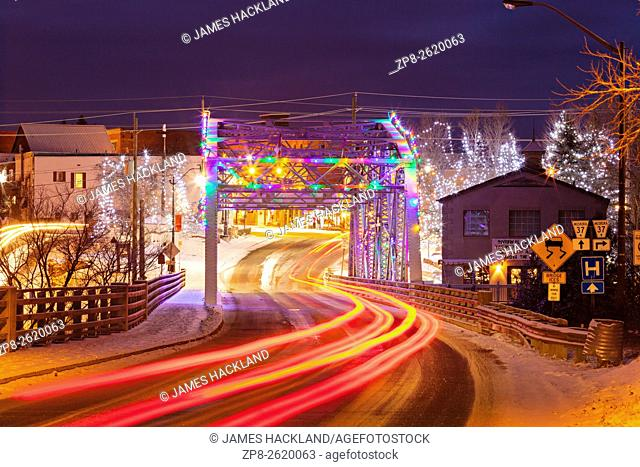 The Silver Bridge and a fresh snowfall along Ecclestone Drive. Bracebridge, Muskoka, Ontario, Canada