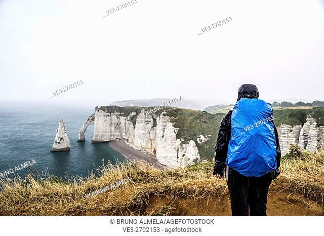 Raining in cliffs of Étretat (department of Seine-Maritime, region of Normandie, France)