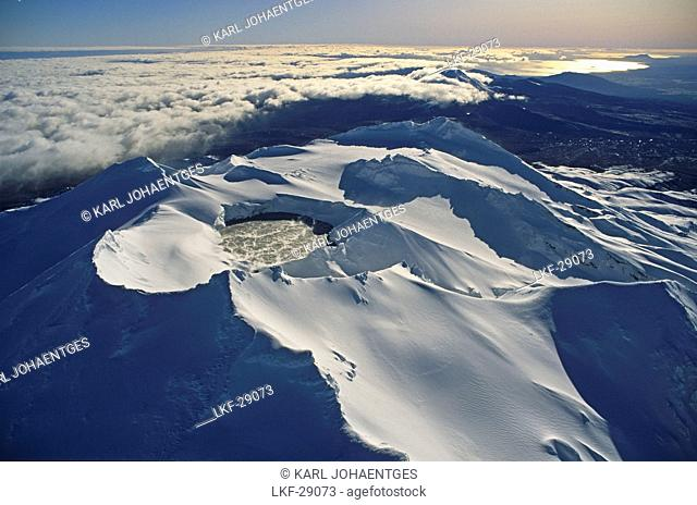 Aerial view of the snow covered volcanos Mount Ruapehu and Mount Ngauruhoe, Tongariro National Park, North Island, New Zealand, Oceania