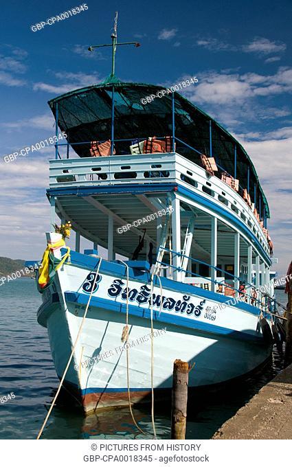 Thailand: Dive boat at the pier, Bang Bao fishing village, Ko Chang, Trat Province
