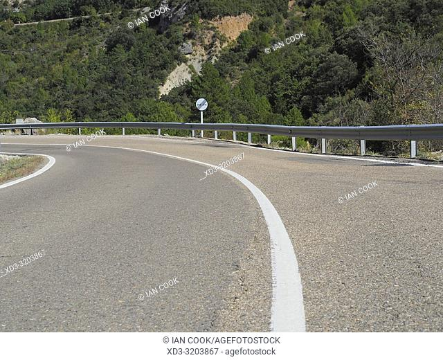 Winding highway in Aragon, Spain