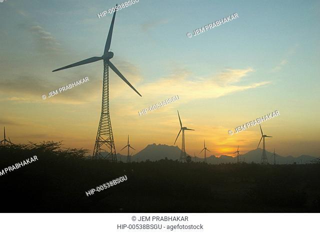 WINDMILLS AT ARALAVAIMOZHI IN NAGERCOIL, TAMILNADU,INDIA