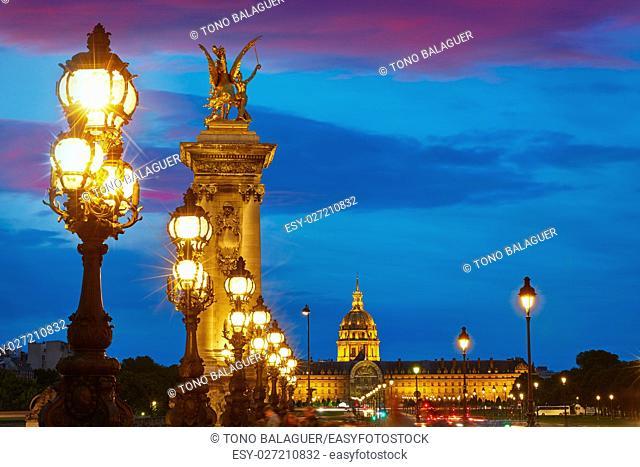 Pont Alexandre III in Paris France sunset over Seine river