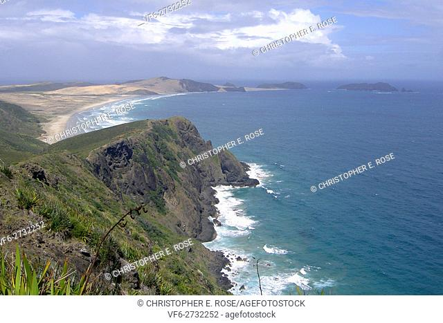 New Zealand, North Island, Cape Reinga, most northerly point of the country, coastline
